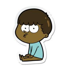 Sticker of a cartoon boy sat waiting vector