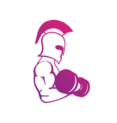 Strong spartan athlete with dumbbell isolated vector