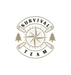 survival explore adventure logo with compass ma vector image