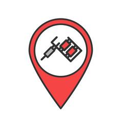 Tattoo studio location color icon vector