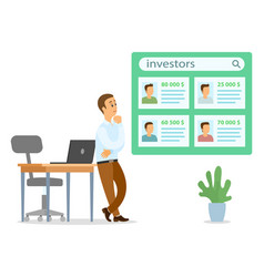 Thoughtful businessman lean on table searching vector