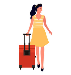 Traveling woman with luggage personage with bag vector