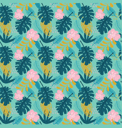 tropical plants seamless pattern exotic natural vector image
