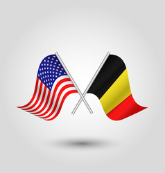 Two crossed american and belgian flags vector