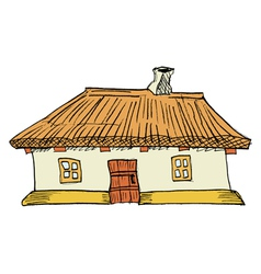 Ukrainian traditional house vector