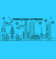 United states pittsburgh winter holidays skyline vector