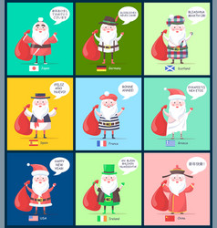 Usa and china santa clauses vector