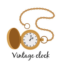 Vintage gold watch icon vector