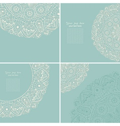 Vintage invitation card set Template frame design vector
