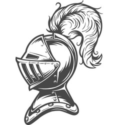 vintage medieval knight helmet concept vector image