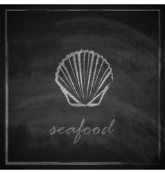 vintage with a clam on blackboard background vector image