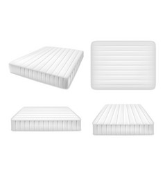 White bed mattresses set realistic vector