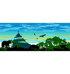 Wild jungle animals in Brazil vector