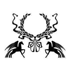Winged horses with laurel wreath vector