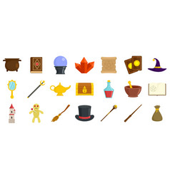 Wizard tools icons set flat style vector