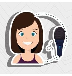 Woman microphone audio speak vector