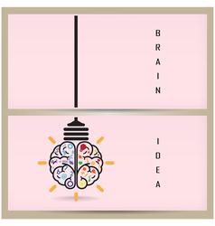 Creative brain Idea and light bulb banner concept vector image