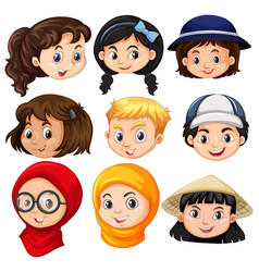 Different faces of children vector