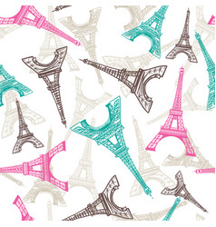 eiffel tower seamless pattern french vector image vector image