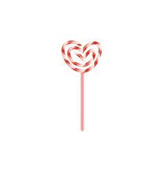 flat heart twisted candy lollipop icon vector image