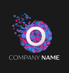 letter o logo with blue purple pink particles vector image