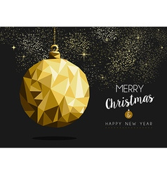 Merry christmas happy new year gold bauble origami vector image vector image