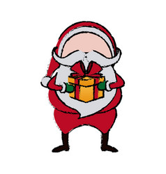 santa claus cartoon character with gift box merry vector image vector image