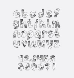 set dotted alphabet from a to z and numbers vector image vector image
