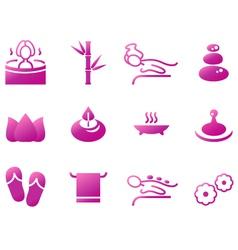 Wellness spa sauna and massage icons vector image vector image