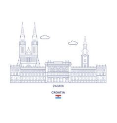 Zagreb city skyline vector
