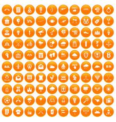 100 arrow icons set orange vector image
