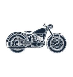 hand drawn vintage motorcycle logo design template vector image