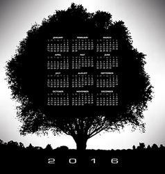 2016 tree and nature calendar vector image vector image