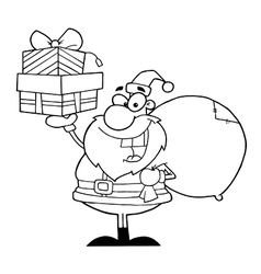 Royalty free rf clipart santa holding up a stack vector