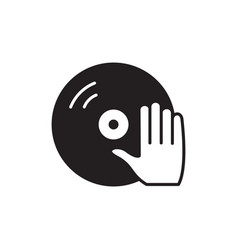 vinyl and dj hand icon symbol vector image