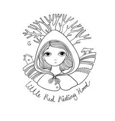 A cute little girl red riding hood fairy tale vector