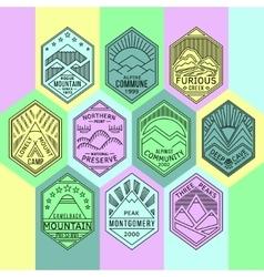 Mountain badges linear 1mono vector image vector image