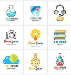Set of Coloful Logo Templates Lab Dentist Support vector image vector image