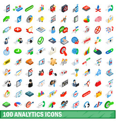 100 analytics icons set isometric 3d style vector image