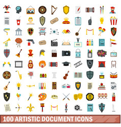 100 artistic document icons set flat style vector