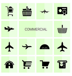 14 commercial icons vector