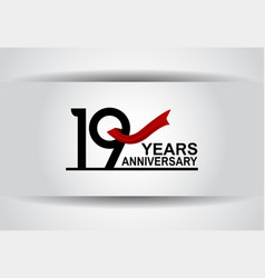 19 years anniversary design with red ribbon vector