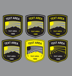 6 different color combination of shield badge temp vector