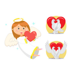 Angelic child cupid girl with wings and nimbus vector