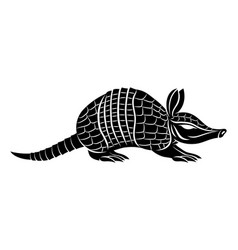 animal armadillo black sign vector image