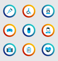 antibiotic icons colored set with checklist vector image