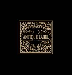 antique label with floral details vector image