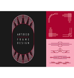 Art deco geometry frame set mono line elements vector