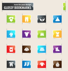 Baby clothes icons set vector