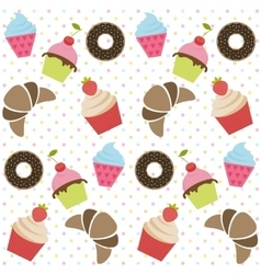 Background with cupcakes donates and croissants vector